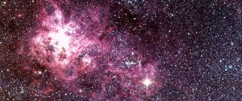 Tarantula Nebula in the Large Magellanic Cloud showing Supernova 1987A